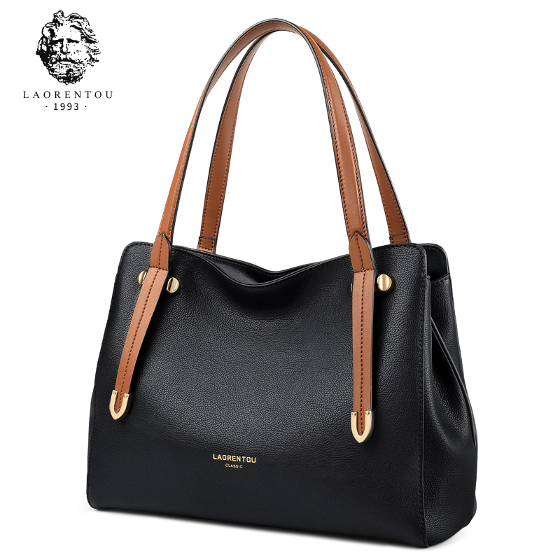 LAORENTOU Brand Female Split Leather Totes Lady Casual Gentlewoman Handle Bags Women Occident Fashion Shoulder Bag