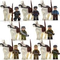 8 шт./компл. WW2 конная армия, солдатики боевой конь с рюкзак меч винтовки Пистолеты детские конструкторы Подарочные игрушки для детей