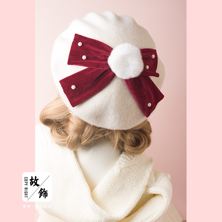 55efcd85985ea Princess sweet lolita berets Autumn and winter Super rabbit ball pearl  velvet bow Beret Japanese female cute bud hat GSH162