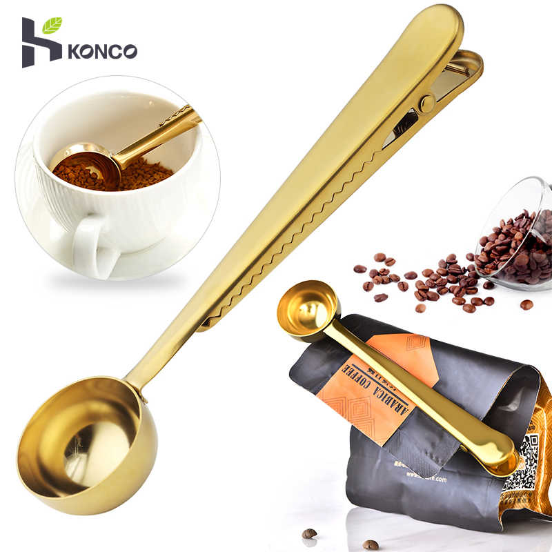 Coffee Measuring Spoon Scoop /& Bag Sealing Clip Stainless Steel Hot K1C9