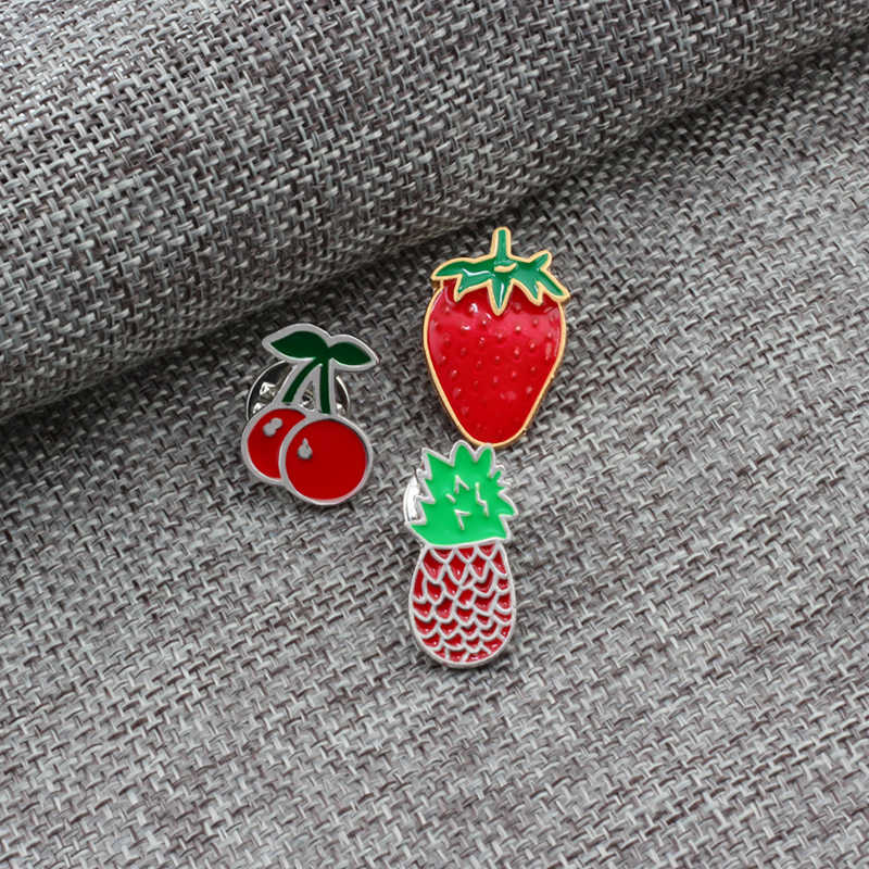 2018 Sederhana Kartun Buah Lencana Bros Pin Untuk Wanita Pin Logam Tombol Dekorasi Denim Jaket Fashion Perhiasan Bros Lencana