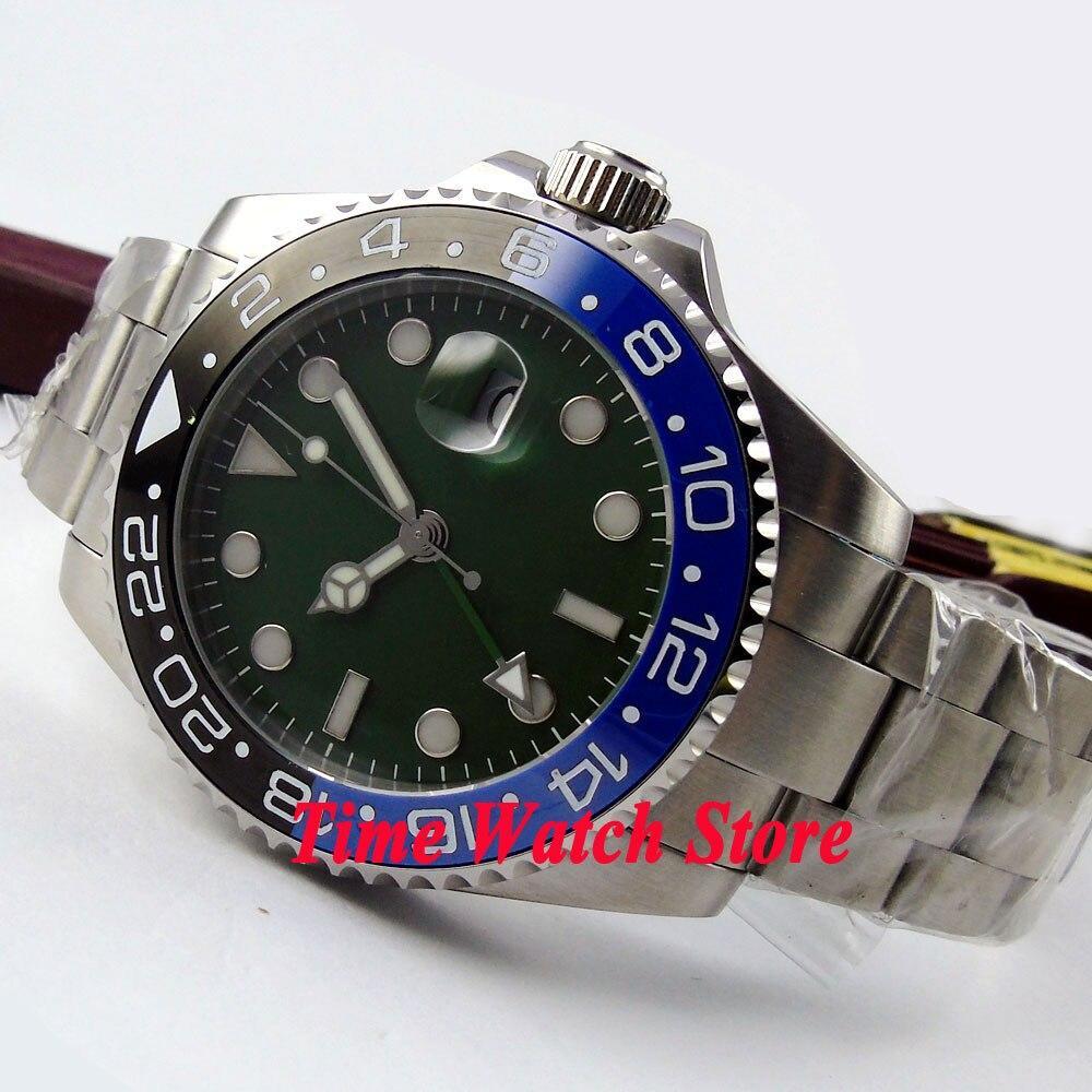 Bliger 43mm Green Sterile dial black blue ceramic bezel sapphire glass GMT Automatic movement Men s