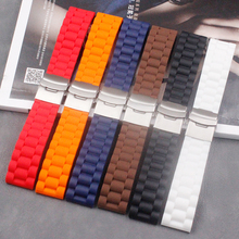 Watch accessories folding buckle rubber strap 24mm22mm ladies outdoor sports anti-level head silicone