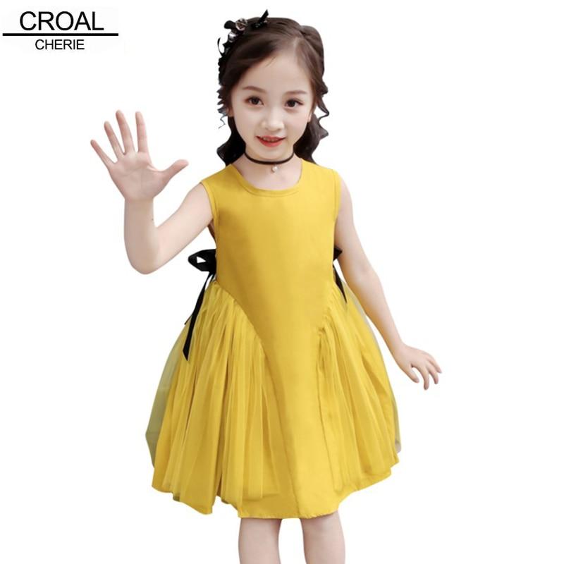 CROAL CHERIE Yellow Party Princess Dress Girl Summer Kids Dresses for Girl Costume Fashion Children Girls Clothing Bow Dress 1