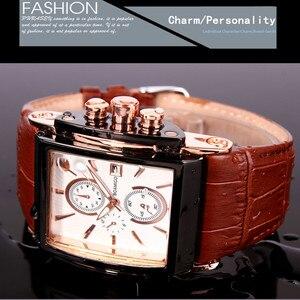 Image 5 - BOAMIGO relojes de cuarzo cuadrado para hombre, reloj deportivo informal de moda con esfera grande, Agua De Oro Rosa [roof Cock Leather, relojes de pulsera informales para hombre