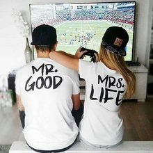 c853cc86a BKLD 2017 New Summer Funny Couple T Shirts mr good mrs life Letter Printed  Cotton O-Neck Tees Short Sleeve Causal Couple Clothes