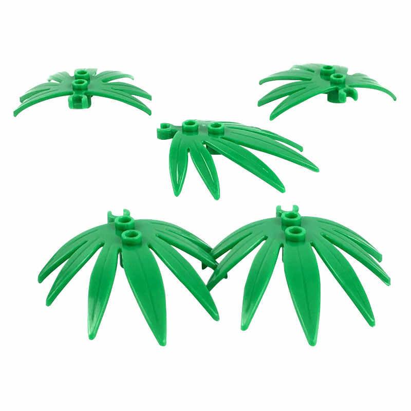 Mailackers 市 MOC アクセサリー部品ロット植物の木草の花葉ブッシュ竹バルクビルディングブロックレンガのおもちゃ子供都市