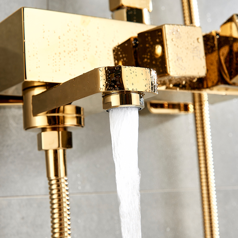 HTB1 phYycuYBuNkSmRyq6AA3pXaI Bathtub Faucets Luxury Gold Brass Bathroom Faucet Mixer Tap Wall Mounted Hand Held Shower Head Kit Shower Faucet Sets