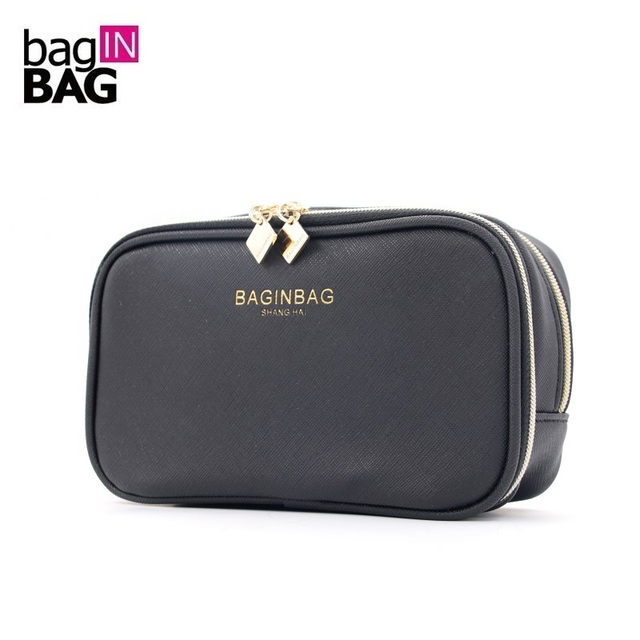 Protable Cosmetic Bag With Compartments Waterproof Pu Leather Makeup Bags Double Layer Toiletry Bolsa Cosmeticos