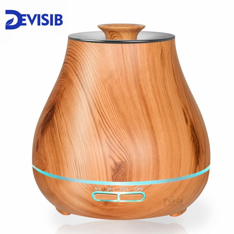 DEVISIB 400 ml Huile Essentielle Diffuseur Arôme Brume Fraîche Humidificateur avec Sans Eau Arrêt Automatique et 7 Couleur LED lumière et SANS BPA