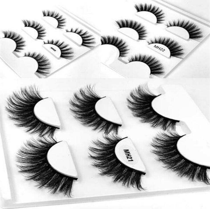 HBZGTLAD Sexy 100% Handmade Mink Strips Thick Cross 6 Pairs2box Natural False Eyelash 3D Eyelash Extensions