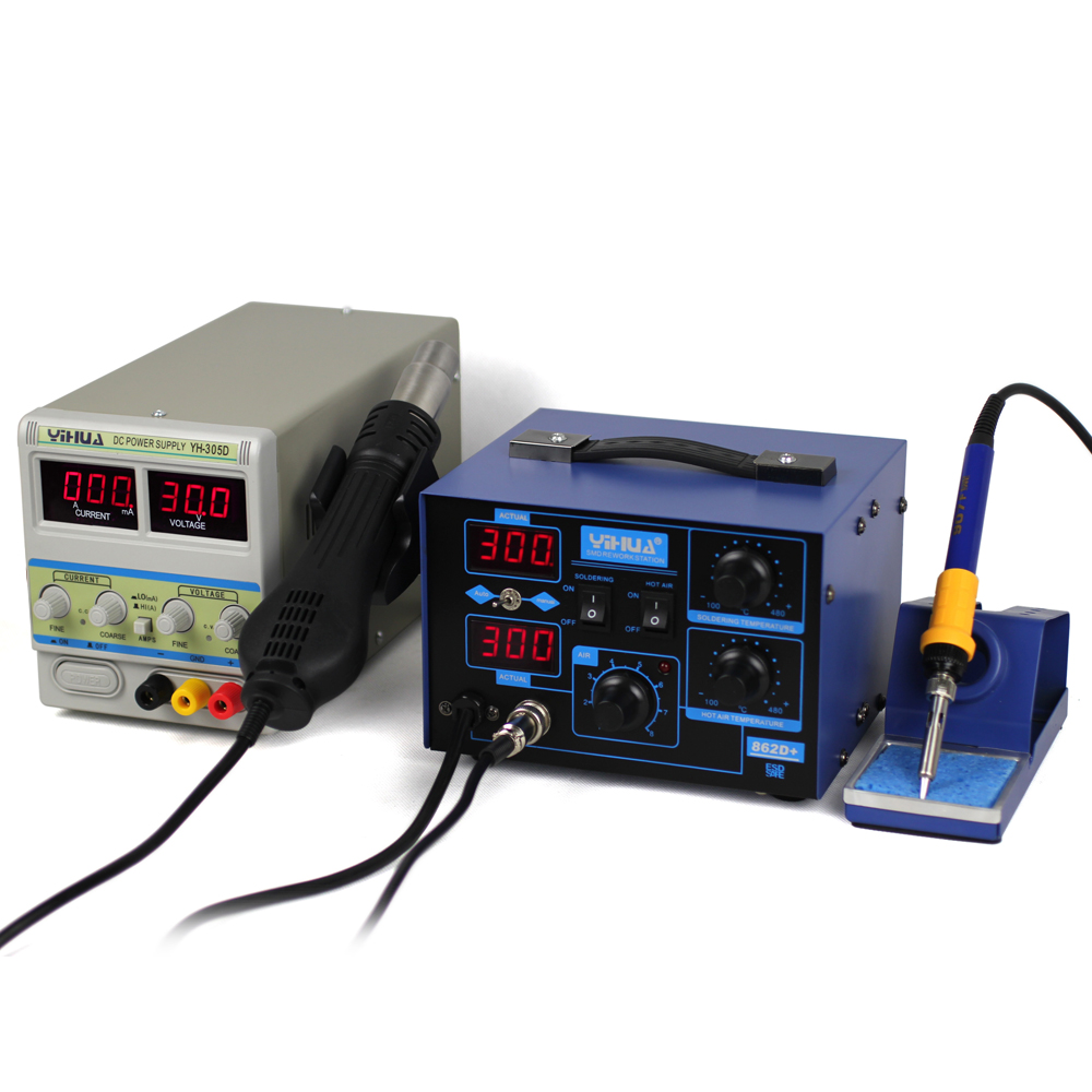 BGA repairing system YIHUA 862D+ soldering station + YIHUA 305D 30V 5A adjustable DC power supply