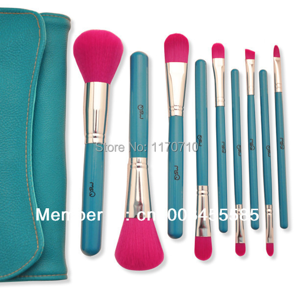 FREE SHIPPING! Best Quality Synthic Hair Professional Makeup Brush Set 9PCS/Set Including a Pu Leather Bag! недорого