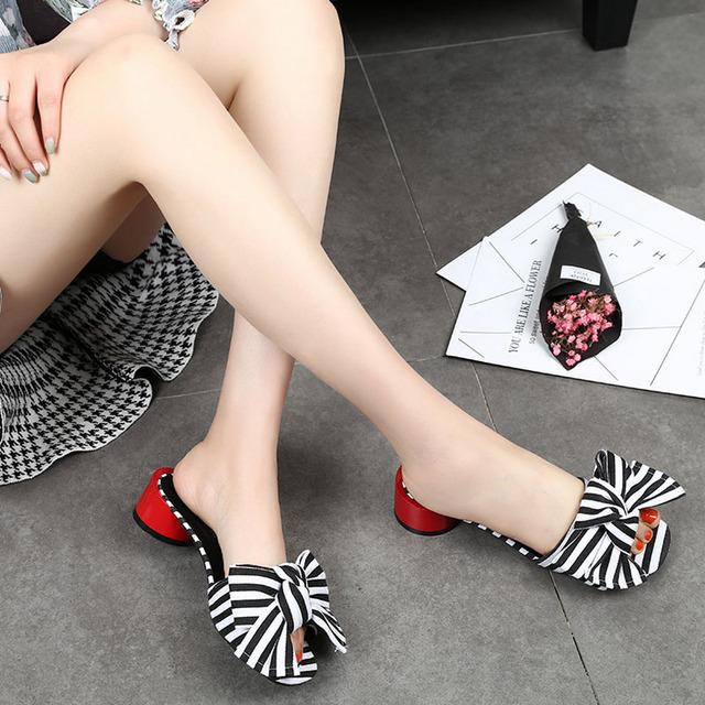 Fashion Wedges Women's Shoes Slippers Women Striped Summer Shoes Flip Flops Leisure Sandals Slip On Platform Sandals LGQY15