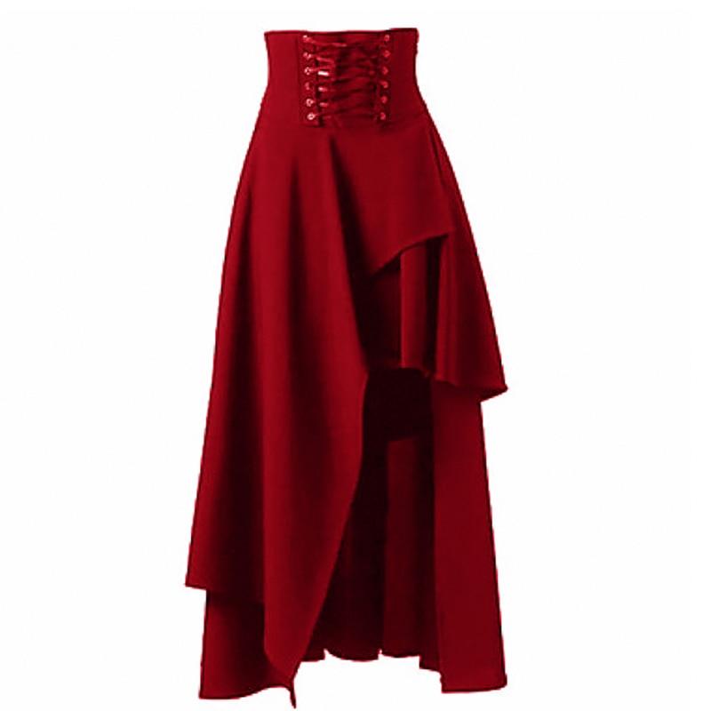 2019 New Long Women Skirt Plus Size Solid Irregular 5 Colors Fashion Bandags High Waist Fahsion Casual Women Bottoms Clothing