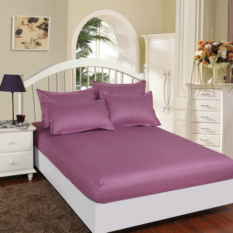 Satin Cotton Sheet & Pillowcases Fitted With Elastic Bed Bedspread Mattress