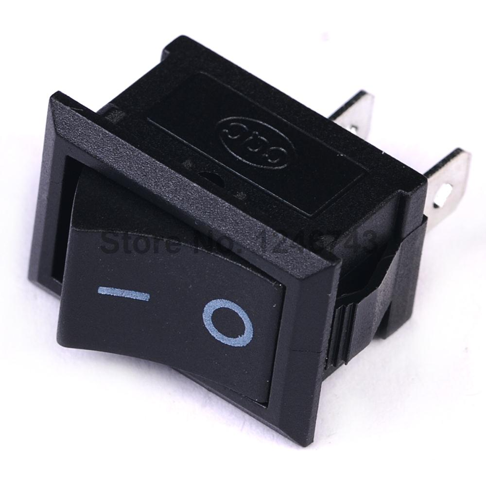 20PCS ON / OFF Rocker Switch, 117S 2-Pin 250V3A 125V6A ON-OFF Black Plastic Connectors 2 Pin yellow led on off rocker switch w terminal protector set for electric appliances 2 pcs