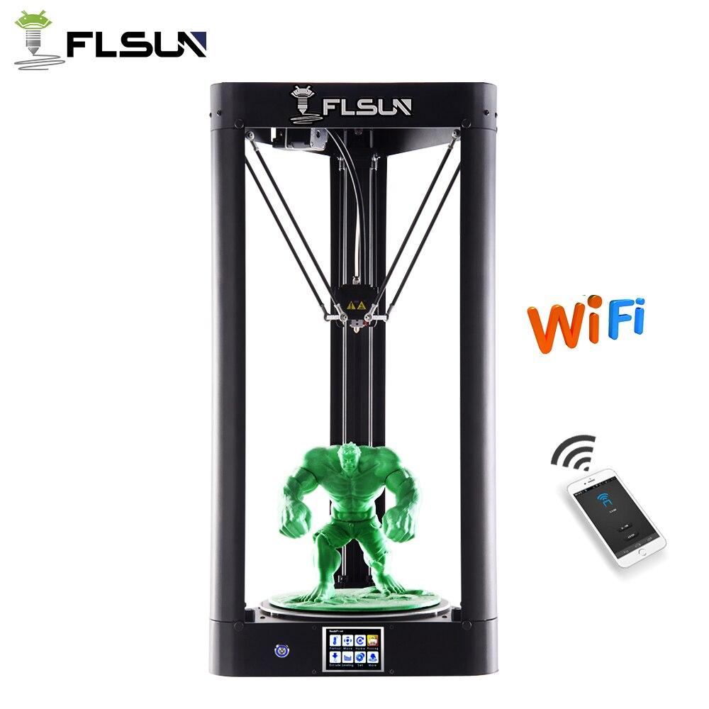 Nouveau 2019 FLSUN QQ-S 3D Imprimante Treillis Plaque Pré-assemblée Delta 3D imprimante grande taille 32bit Processeur Titan Extrudeuse Wifi reprendre