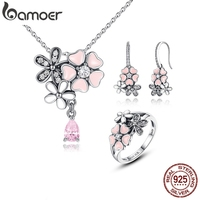 BAMOER 100% 925 Sterling Silver Pink Flower Poetic Daisy Cherry Blossom Bridal Jewelry Sets Wedding Engagement Jewelry ZHS028