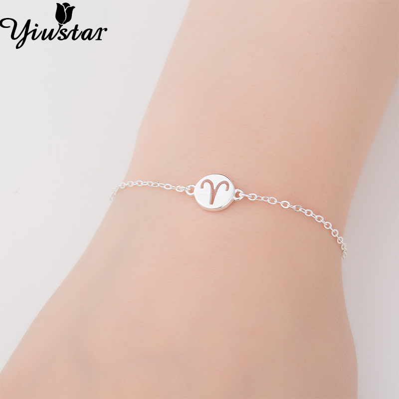 Yiustar 925 Silver Lovely Aries Bracelets for Women Simple 12 Zodiac Constellation Sign Cuff Bracelet Women Bracelets Bangles