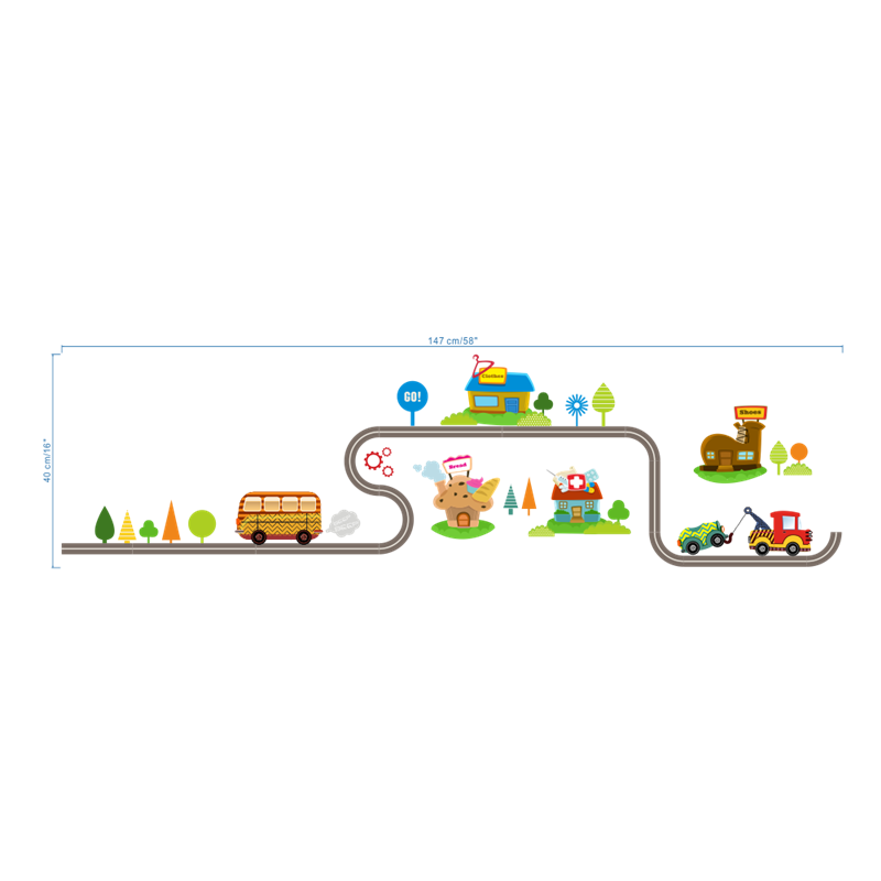 highway cars wall stickers for kids rooms-Free Shipping