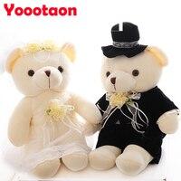 25 CM yüksek kaliteli düğün ayı çiftler peluş oyuncaklar teddy bear doll Noel hediyesi düğün hediyesi Gelin & Damat Ayı 2 adet/çift