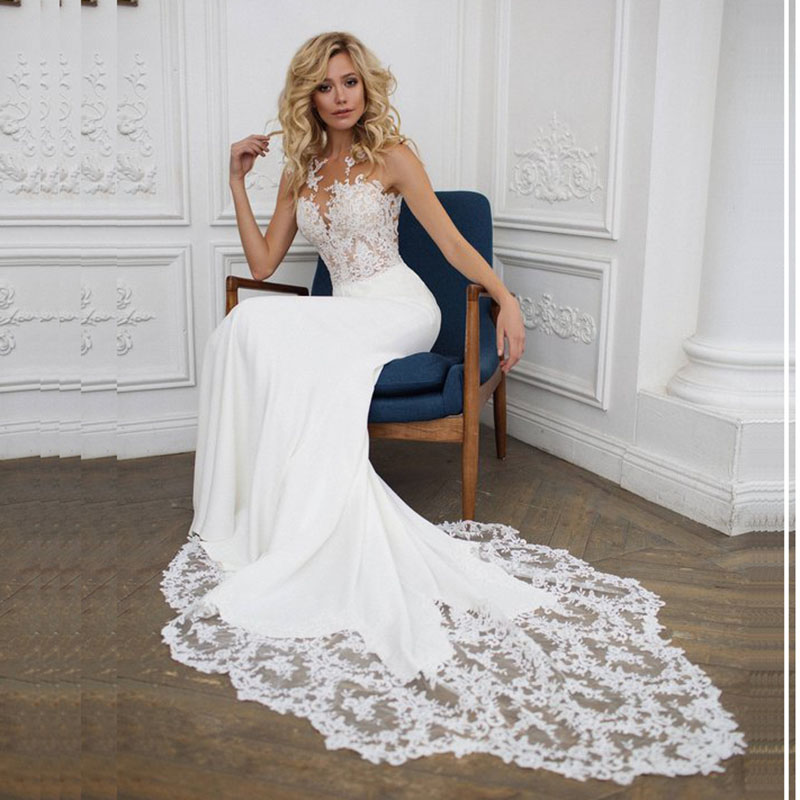 SoDigne 2018 Wedding Dress Appliques Lace Mermaid Wedding Gown With Train White / Ivory Backless Beach Bride Dresses G1019