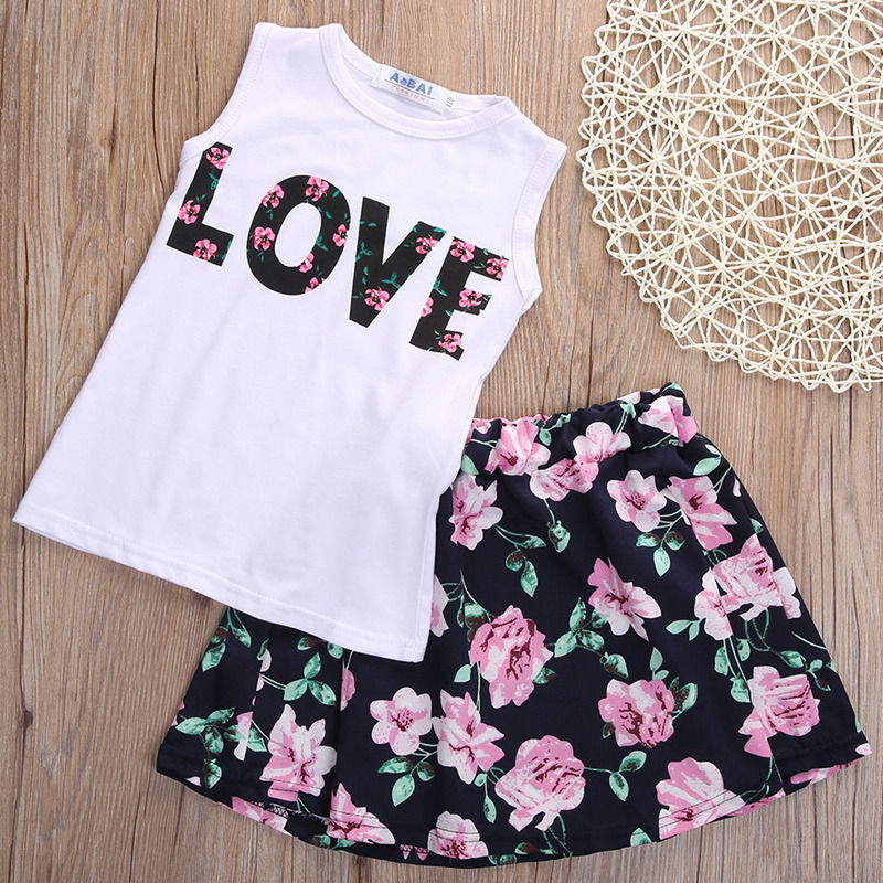 Cute 2pcs Toddler Kids Baby Girls Floral Tops T-shirt+Skirt Clothes Set Dress Outfits baby girls clothing set 2015 kids toddler t shirt tank tops skirt 2pcs set outfits clothes