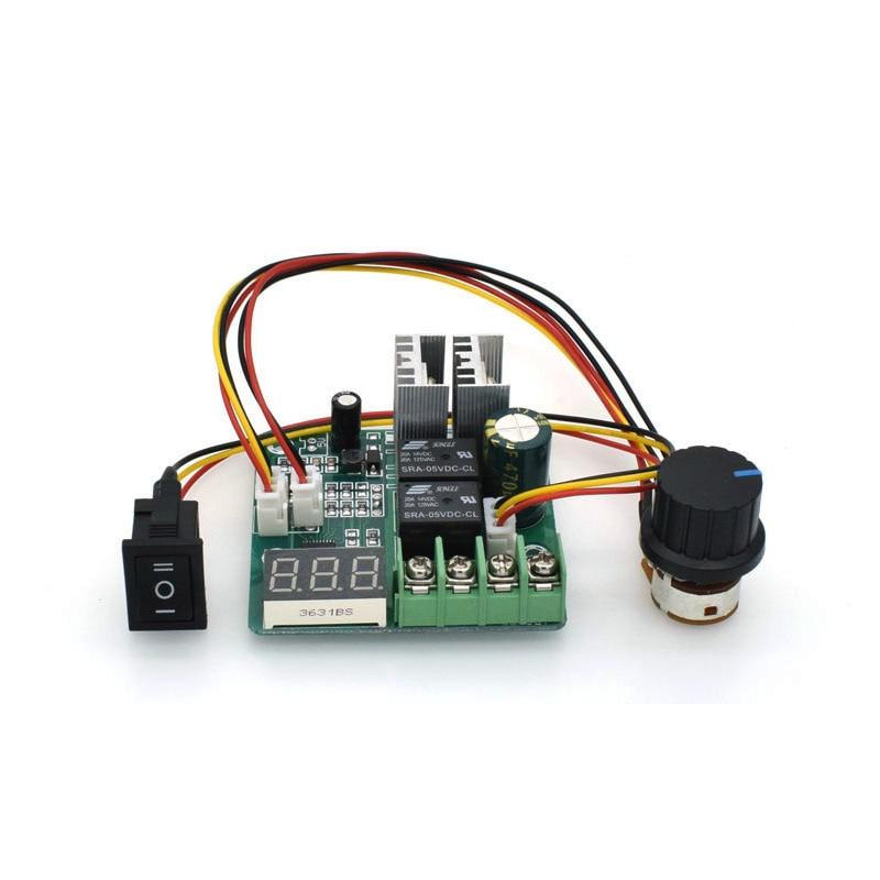 PWM dc motor speed controller 10A CW CCW digital display 0~100% adjustable drive module Input 6V~55V dc 10 55v cw ccw reversible switch 12 24 36v 40a pwm motor speed controller regulator w led digital display for dc brush motor