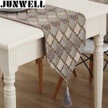 Junwell moda moderno corredor de mesa colorido náilon jacquard runner pano de mesa com borlas cutwork bordado corredor de mesa