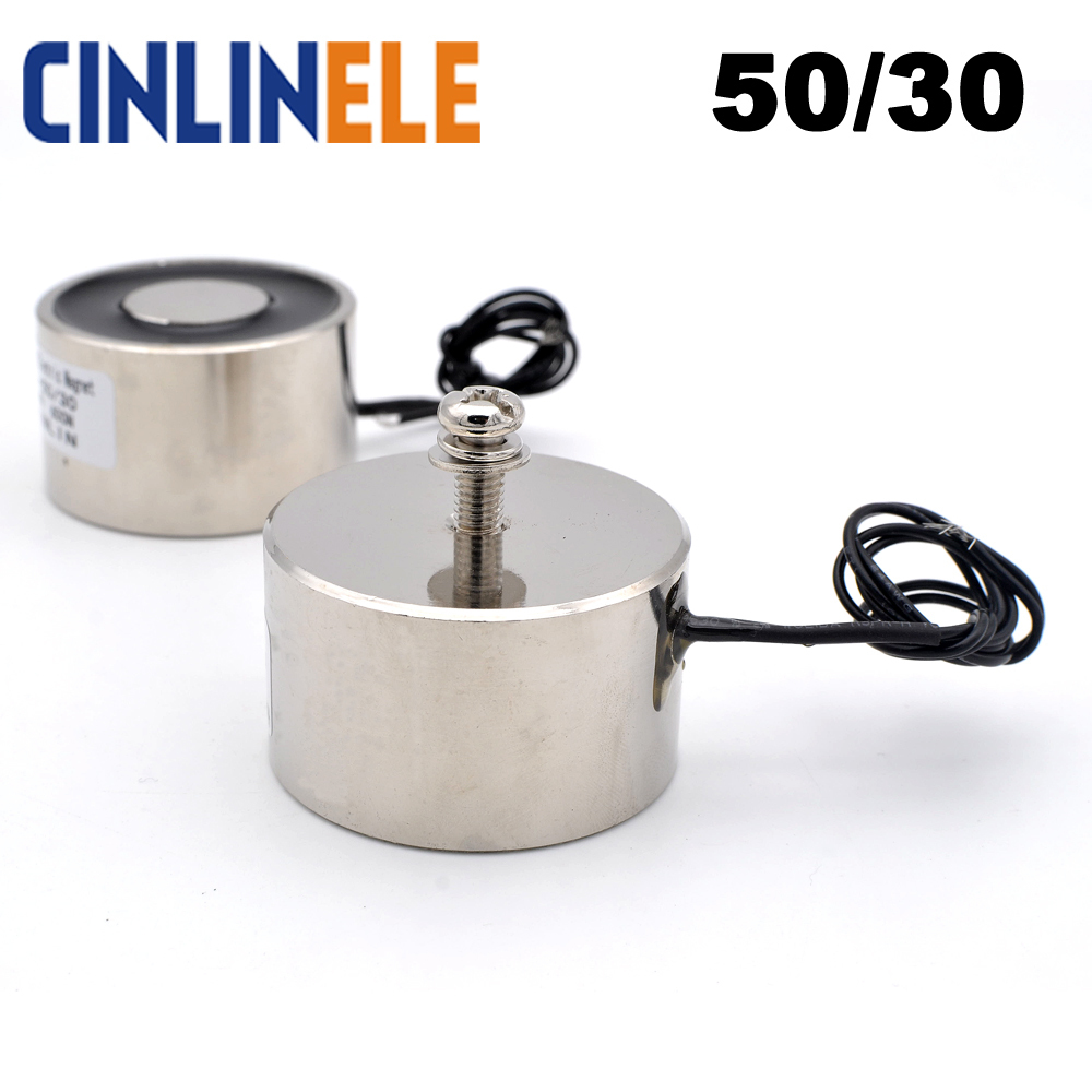 CL-P 50/30 Holding Electric Magnet Lifting 60KG/600N Solenoid Sucker Electromagnet DC 6V 12V 24V Non-standard custom 50 30 dc 6v 12v 24v waterproof energized hold electromagnet 60kg sucker electric magnet coil portable lift powerful 12 solenoid