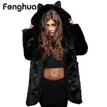 Winter Women Faux Fox Fur Coat 2018 Hooded Fur Jacket Coat With Cat Ears Warm Long Sleeve Jacket Casual Coat Women Plus Size 3XL