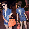 2016 designer brand summer Women Plus Size Summer Denim Jumpsuit short Overall Casual Jeans Romper New Style Sexy Hot Denim suit