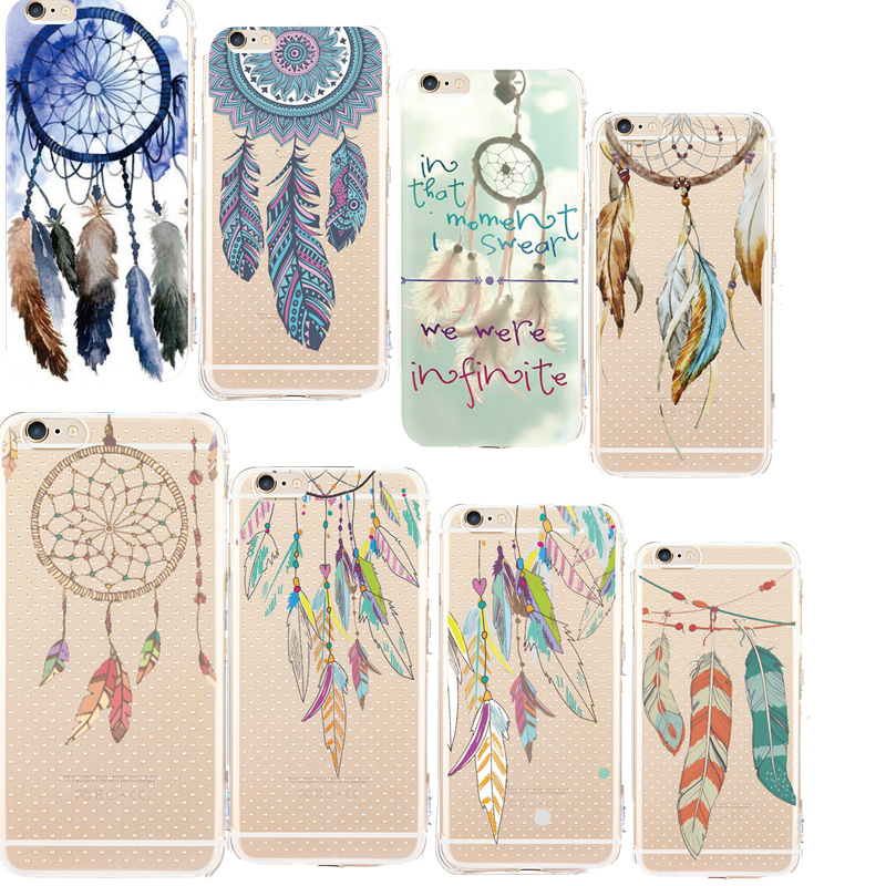 Soft TPU Phone Cover Shell Dream Catcher Pattern Telephoon Cases for iPhone 5 5s 6 6s Plus 7 PlusSilicone Clear Anti-shock Coque