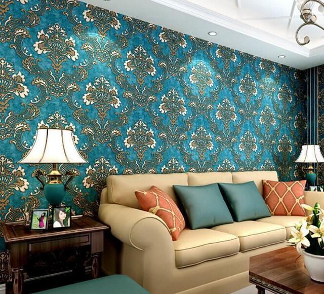 € 22.3 11% de réduction|Papier peint damassé bleu vintage de style européen  pour chambre de salon dans Fonds d\'écran de Rénovation sur ...