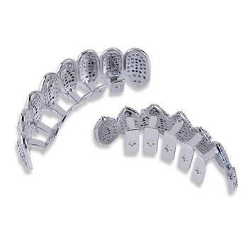 1414 الهيب هوب مثلج خارج الفضة الأنياب الأسنان جريلز أعلى وأسفل الشوايات الأسنان الفم فاسق الأسنان قبعات تأثيري حزب مغني الراب مجوهرات 1