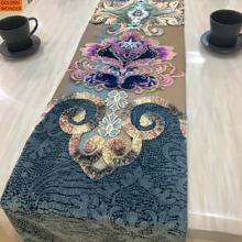 High Quality Modern European Chenille Embroidery Table Runner Home Decor Luxury Runners Customized Product