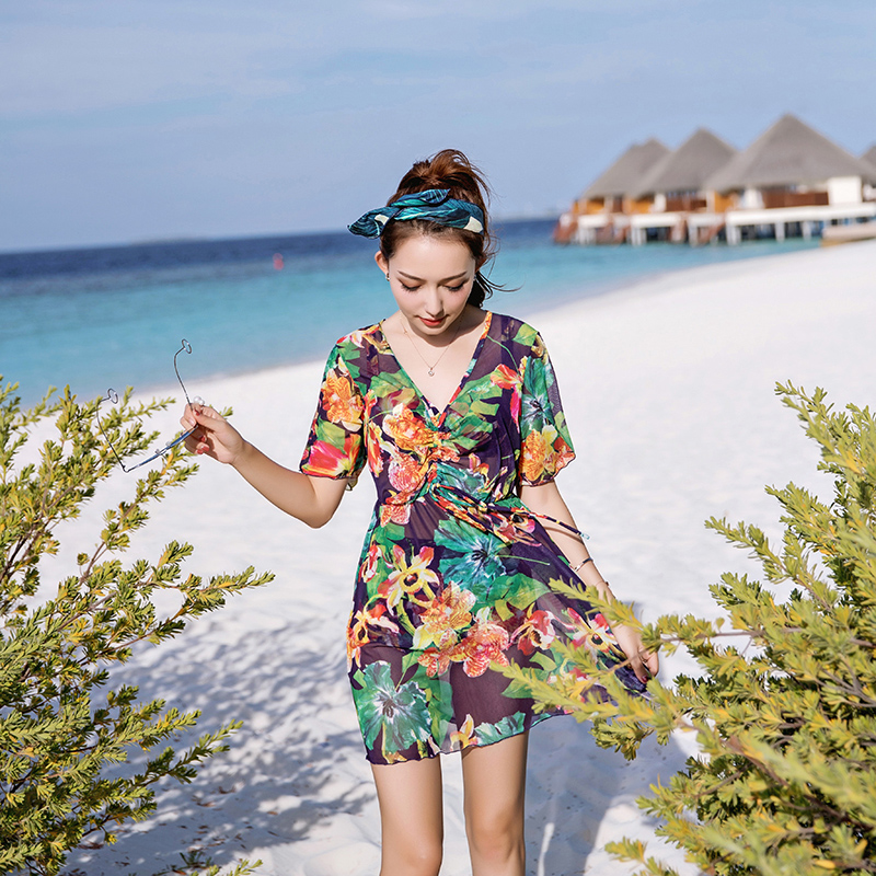 Ladies Beach Dress Plus Size V-neck Chiffon Blouse+Bikini Set Print Floral Women Cover Up 2018 3 Pieces Swimsuit Push Up Padded blue floral print v neck slit design long sleeves dress