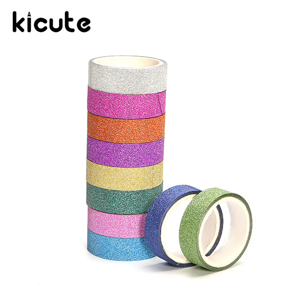 Kicute 10pcs/lot Hot Shiny Bright Color Decorative Masking Adhesive Tape Decor Set Sticker Label Stick DIY Craft Stationery
