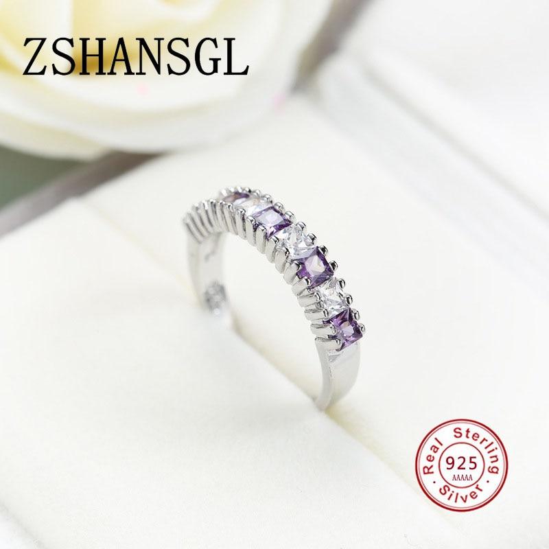 LiebenswüRdig Echt 100% 925 Sterling Silber Modische Ring Aaa Kreis Klar Cz Geometrische Stapelbar Ringe Für Frauen Hochzeit Schmuck Geschenk Verlobungsringe