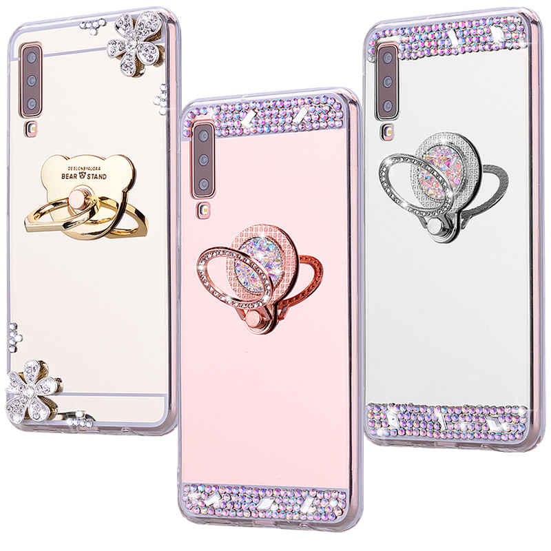 For Samsung Galaxy A50 Case A51 S20 Soft Bumper For Galaxy A7 A70 A50 A40 A30s A30 A20 A10 Phone Cases Mirror Glitter Back Cover