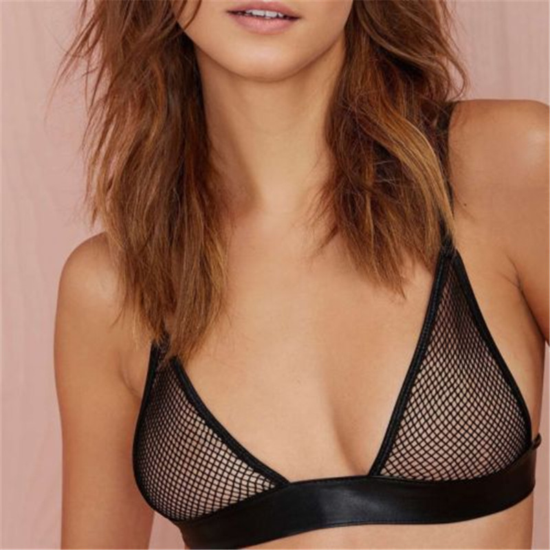 Sexy Lingerie Bras Black Large Mesh Perspective Women Sex Underwear