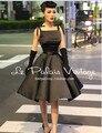 Le Palais Elegante Do Vintage Retro Clássico Hepburn Seda vestido de Cintura Alta Sopro Preto LPV048