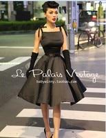 Le Palais Vintage Elegant Retro Classic Hepburn Silk High Waist Puff Black Vestido Women Dress