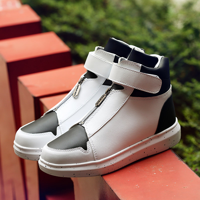 0dc913133025 Men Leather Shoes Winter High Top Skull Gold Zipper Design Men Shoes Hip Hop  sneakers Mens kanye west Zapatillas Homme-in Motorcycle boots from Shoes on  ...