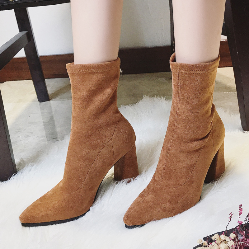 Teahoo Faux Suede Women Sock Boots Thick High Heels Ankle ...