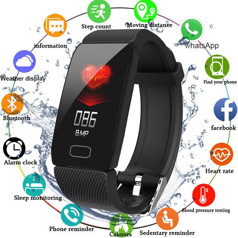 Bande intelligente pression artérielle Q1 moniteur de fréquence cardiaque Tracker de Fitness montre intelligente Bracelet de Fitness étanche météo affichage femmes