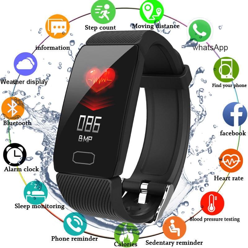 Smart Band Blutdruck Q1 Herz Rate Monitor Fitness Tracker Smart Uhr Fitness Armband Wasserdicht Wetter Display Frauen