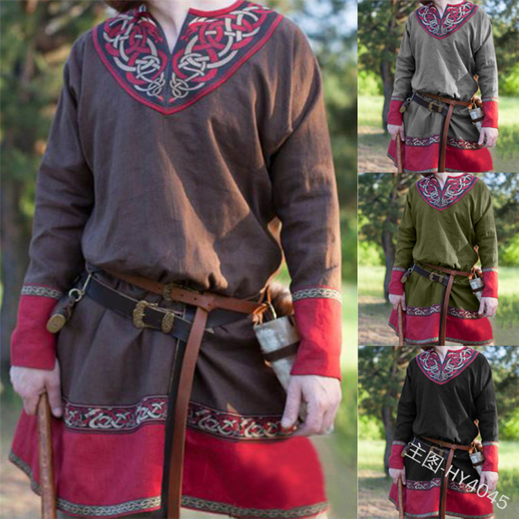 Medieval Men Viking Shirt Long Sleeve Renaissance Costume Men Tunic Stage Costumes Warrior Pirate Tops Cosplay Costumes (Without