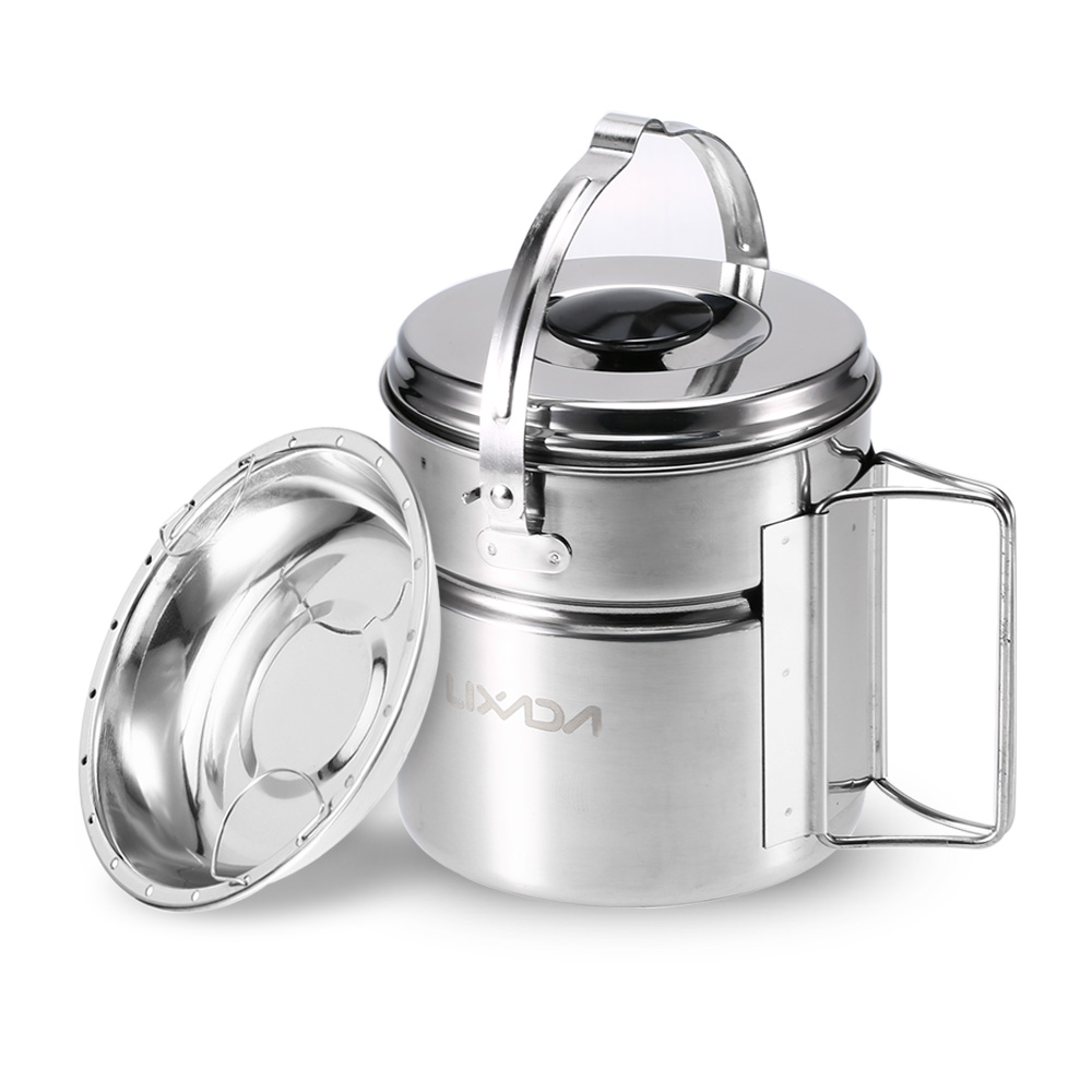 Image 3 - Lixada Stainless Steel Bail Handle Camping Pot with Internal Steaming Dish Foldable Handle Outdoor Tableware-in Outdoor Tablewares from Sports & Entertainment